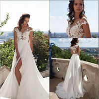 Beach 2016 A Line Wedding Dresses Side Slit Elegant Lace Chiffon Plus Size Wedding Bridal Gowns