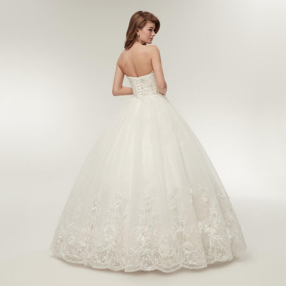 Fansmile 2019 Elegant Luxury Lace Wedding Dress Vintage Ball Gowns Vestido De Noiva Plus Size Customized FSM-502F