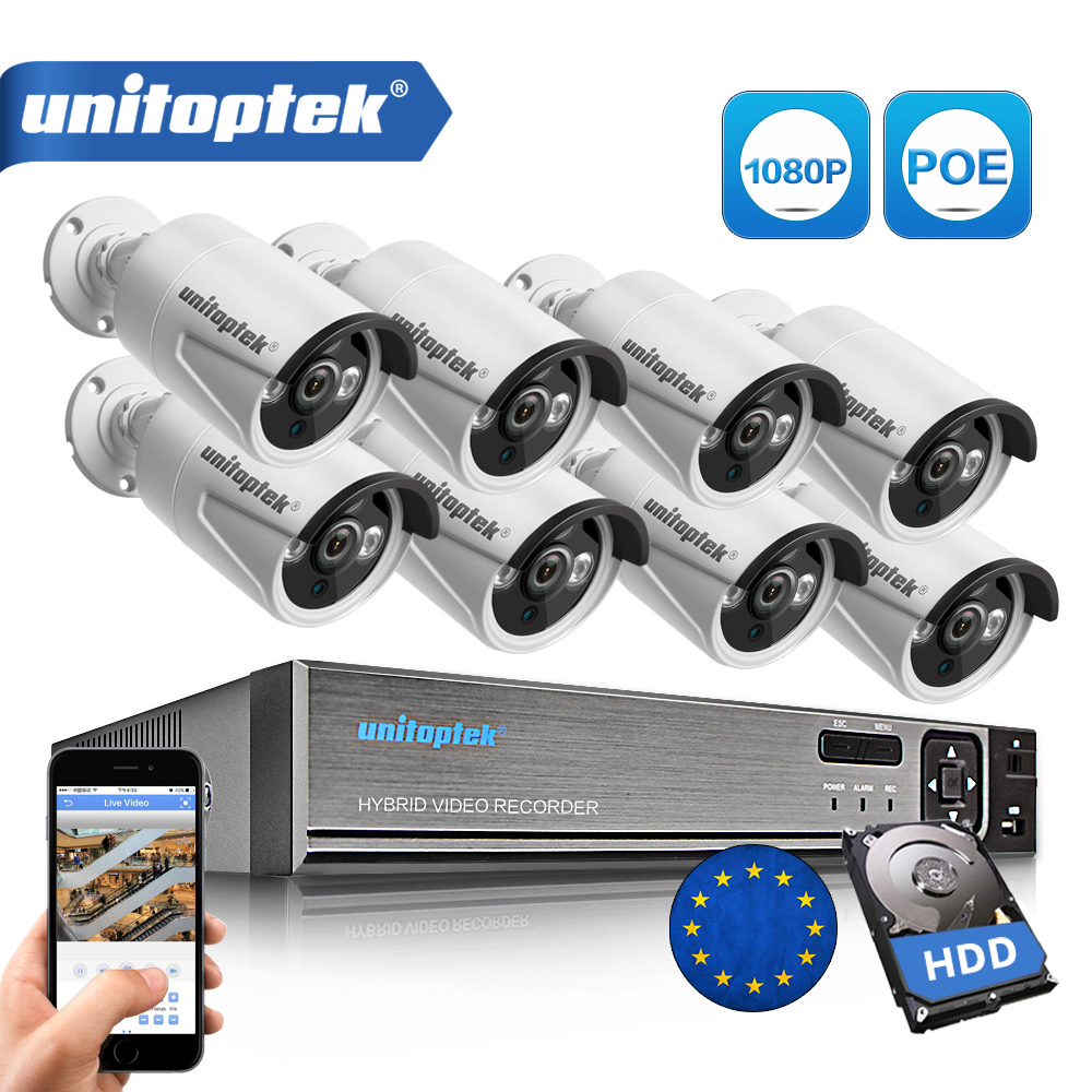 цена на 4CH / 8CH 1080P 48V POE NVR 2.0MP 3000TVL Night Vision POE IP Camera CCTV System Plug and Play Video Surveillance Kit APP XMEye