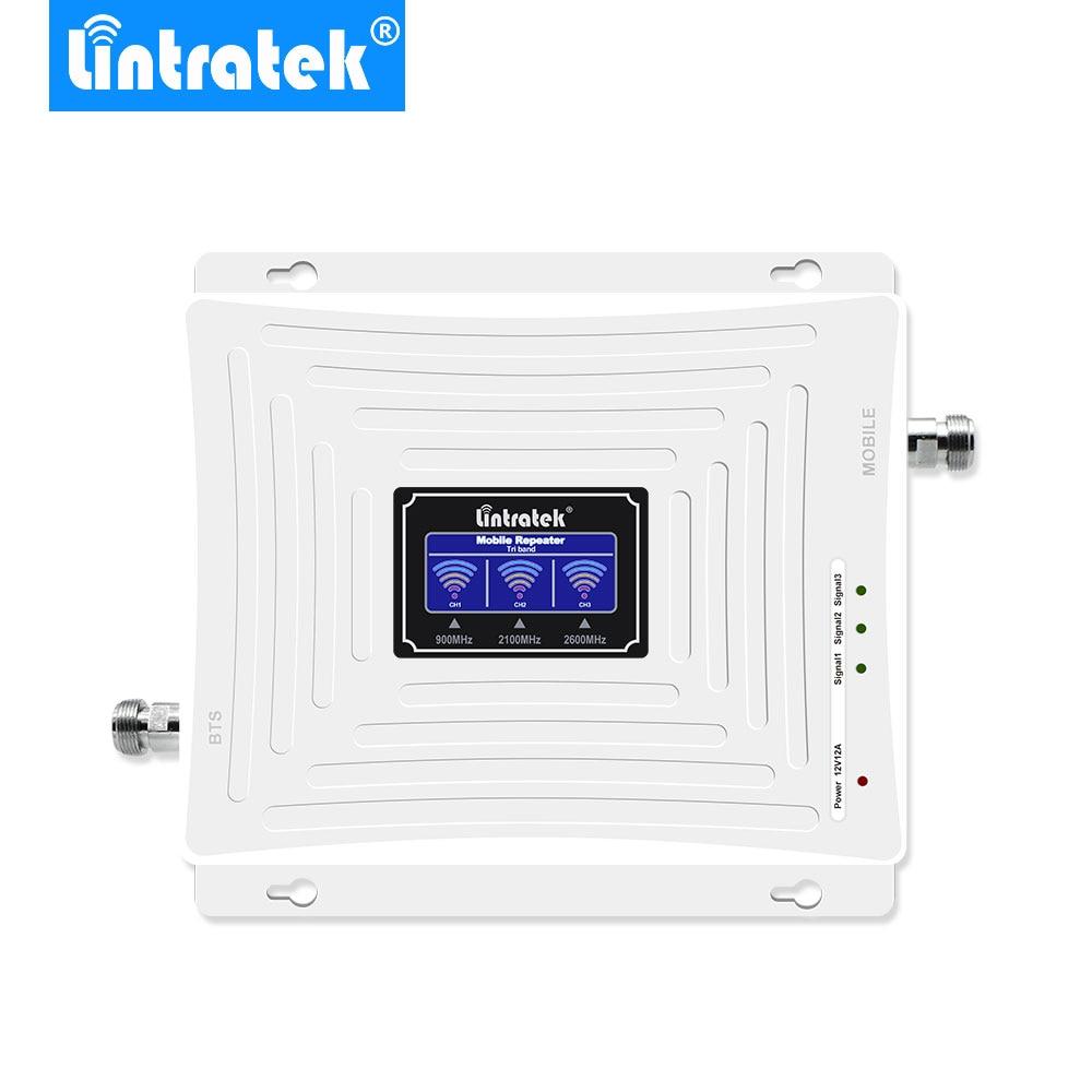 Amplificateur GSM 2G 3G 4G LTE 2600 MHz UMTS 2100 MHz GSM 900 MHz LCD Amplificateur de Signal cellulaire Mobile à trois bandes.