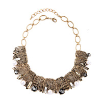 Big Pearl Vintage Necklace Maxi Long Exaggerated Luxurious Noble Elegant Gold For Women Masquerade