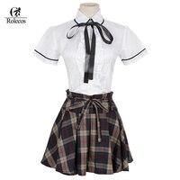 2017 חדש סגנון פלוס כותנה גודל שרוול קצר חצאיות משובצות תלבושת בית הספר המתוק היפני קוריאני 4XL