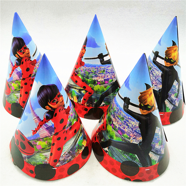 6p Set Kids Birthday Party Supplies Miraculous Ladybug Cosplay Paper Cap Hat Baby Shower Cartoon Theme Decoration Favors