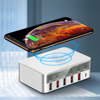 Wireless Charger & 5 Port USB Charger, 2 in 1 Fast Charging Station QC 3.0 LCD Display with Type C for iPhone, iPad