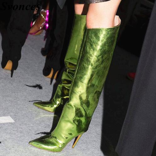 Runway Bling Green Mirror Leather Women Boots Lady Dress Boots Thin High  Heel Knee High Boots Work Pointed Toe Large Size 35-44 dafb481fa3d3