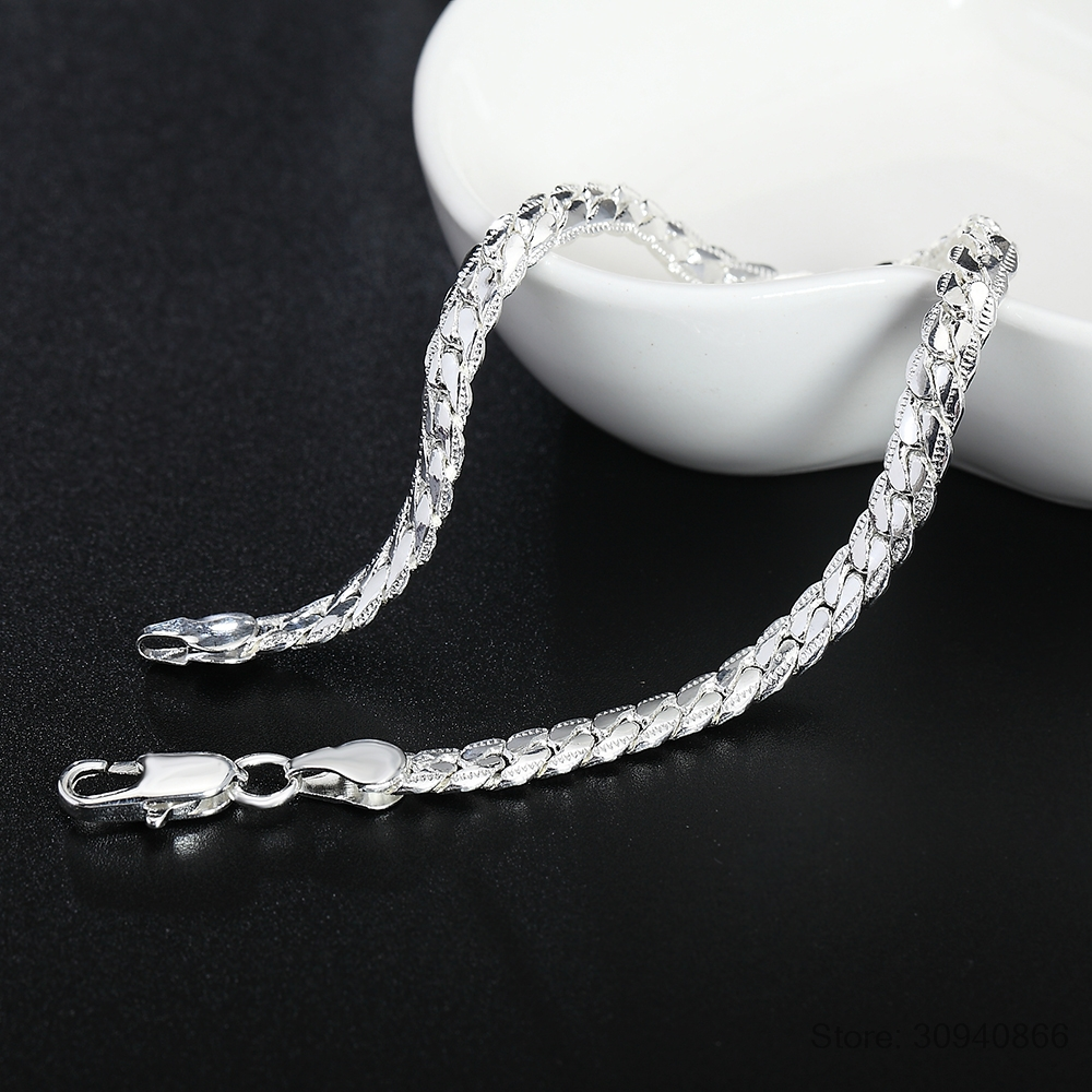925 Sterling Silver Sideway 5mm Snake Chain Blade Lobster Clasp 20cm Bracelet For Women Pulseira Masculina