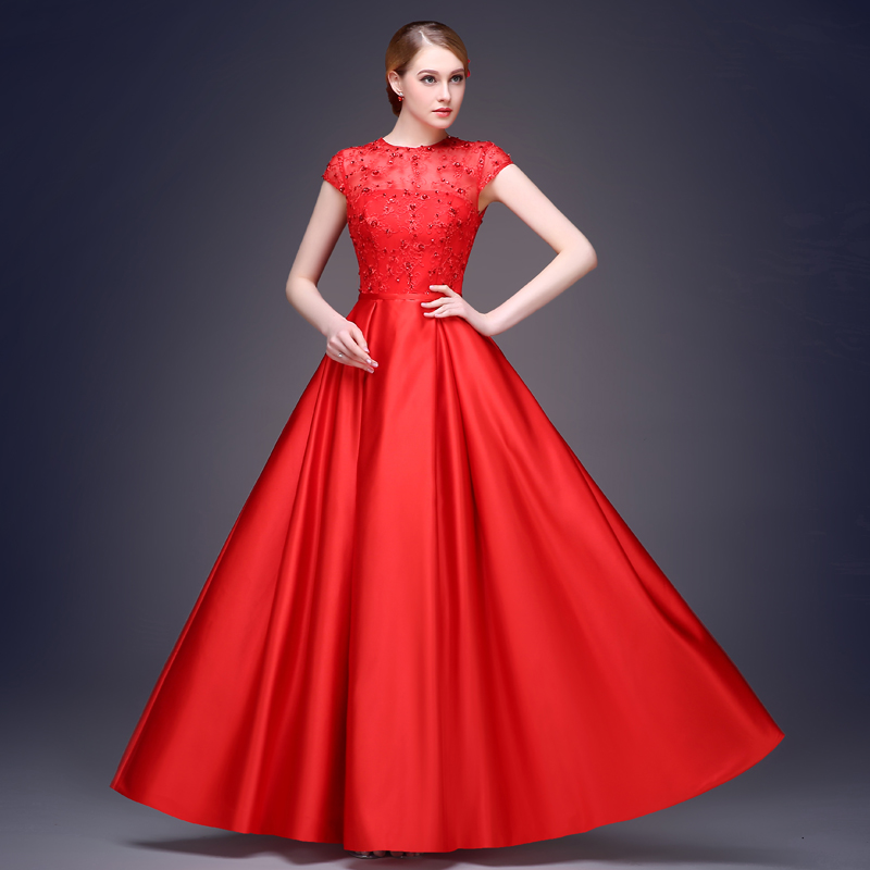 Slim Red Evening Dress 2015 Long Cap Sleeves Corset Formal Gowns In