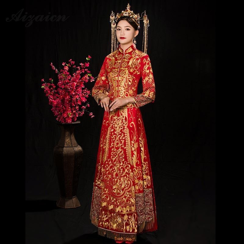 Chinese Traditional Dress Qipao Red Long Sleeve Cheongsam Embroidery Oriental Dresses Wedding Gowns Robe Orientale Vestido Chino