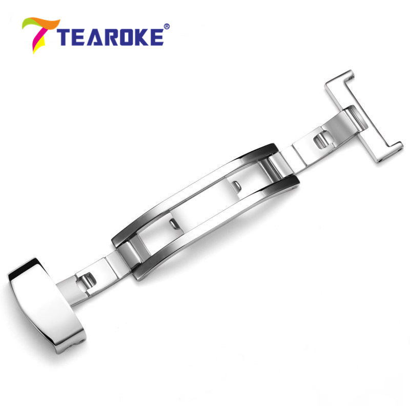 TEAROKE Butterfly Deployment Buckle 316L Stainless Steel Clasp Double Folding for Watch Bands Strap 12 14 16 18 20 22 24mm tearoke butterfly deployment watch band double push button fold strap buckle clasp 16 18 20 22 24mm gold rose gold silver