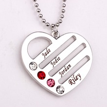 Personalized Heart Pendant Necklace with Birthstones 2016 Personality Birthstone Necklaces Custom Made Any Name YP2496 стоимость