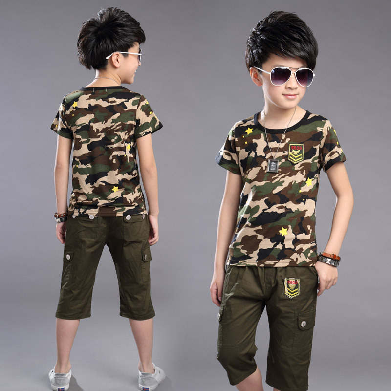 Summer Boys Outdoor Sports Camouflage Clothes Children Casual Short-sleeved Boys Camouflage Outdoor Uniforms T-shirt Set
