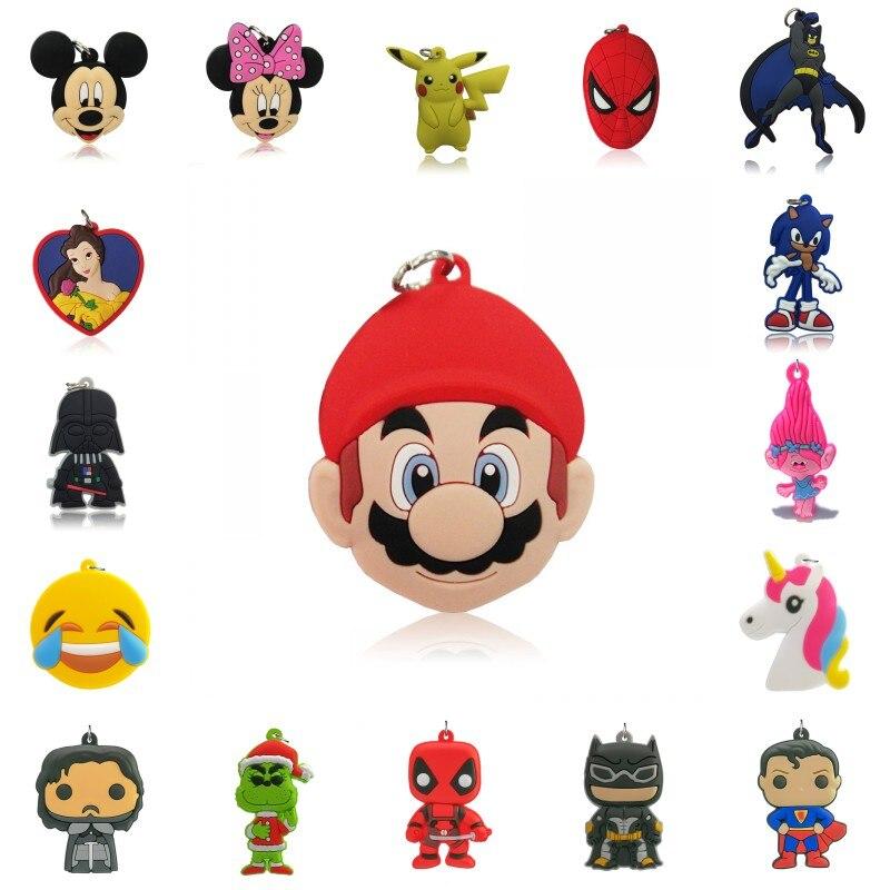 1000 pièces Avengers Mario Dessin Animé PVC Pendentifs Anime Mickey Justice League Unicons Charmes Ajustement pour Porte-clés Colliers Enfants Cadeaux