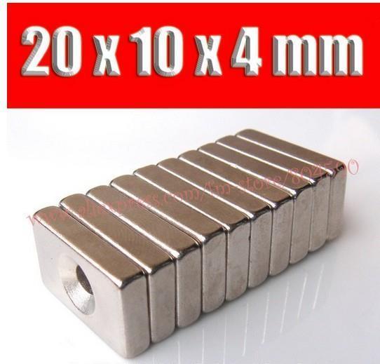 N35 magnet 50pcs/lot 20*10*4mm powerful strong rare earth ndfeb block neodymium magnets 20x10x4mm ring 4mm