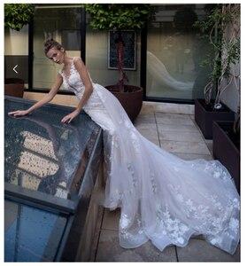 Image 3 - Lorie 공주 웨딩 드레스 레이스 꽃과 appliqued 라인 tulle 분리형 기차 boho 웨딩 드레스 신부 드레스 2019