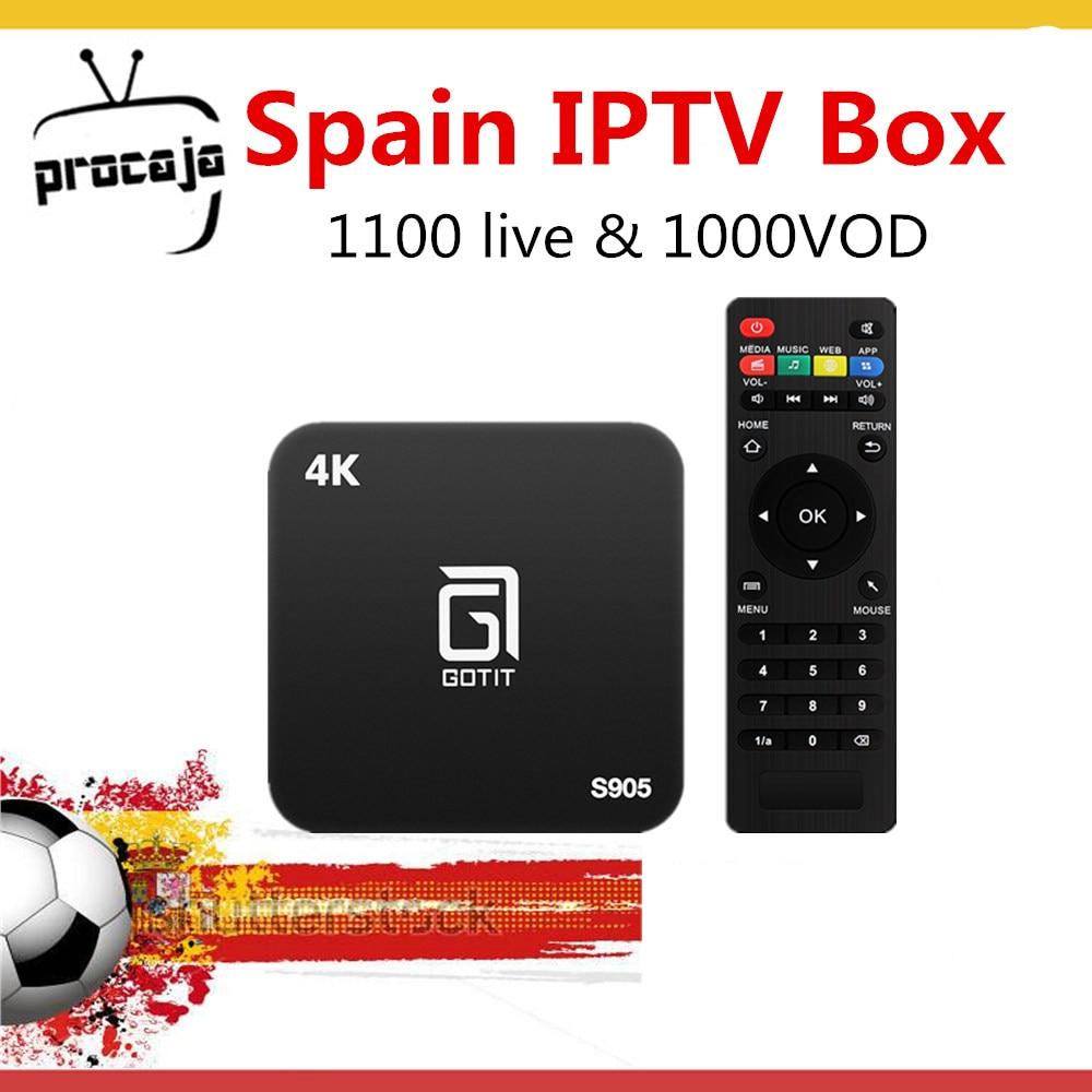 ที่ดีที่สุดสเปน Gotit S905 IPTV Android TV 1 ปี Procaja + ภาษาอาหรับฝรั่งเศสสเปน 1100 Live TV & 1000 VOD ชุดสมาร์ทด้านบนกล่องทีวี-ใน กล่องรับสัญญาณ จาก อุปกรณ์อิเล็กทรอนิกส์ บน AliExpress - 11.11_สิบเอ็ด สิบเอ็ดวันคนโสด 1