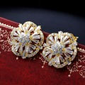 Spring 2017 Collection Small Flower Studs AAA Quality Zircon Bridal Wedding Jewelry High quality Women Fashion earrings studs