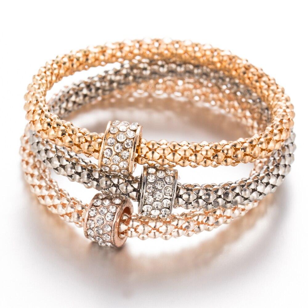 bd7903a90 3Pcs Unisex Crystal Round Chain Gold+Silver+Rose Gold Bracelet Set For Women
