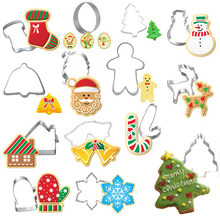 14Pcs Stainless Steel Christmas Theme Santa Claus Snowman Tree Stock Metal Cutters Mould Christmas Cookie Cutter Biscuit Mold(China)