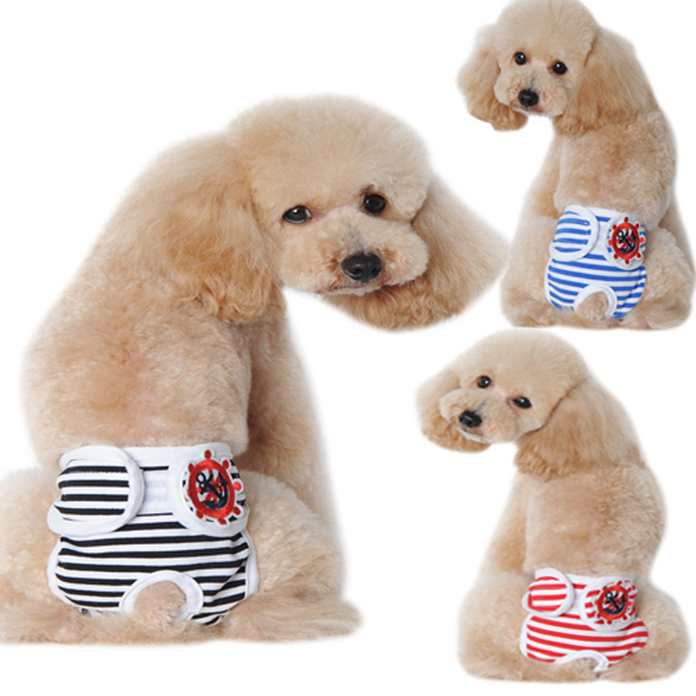 Striped Cotton Diaper For Dogs Cats Physiological Pants All Seasons