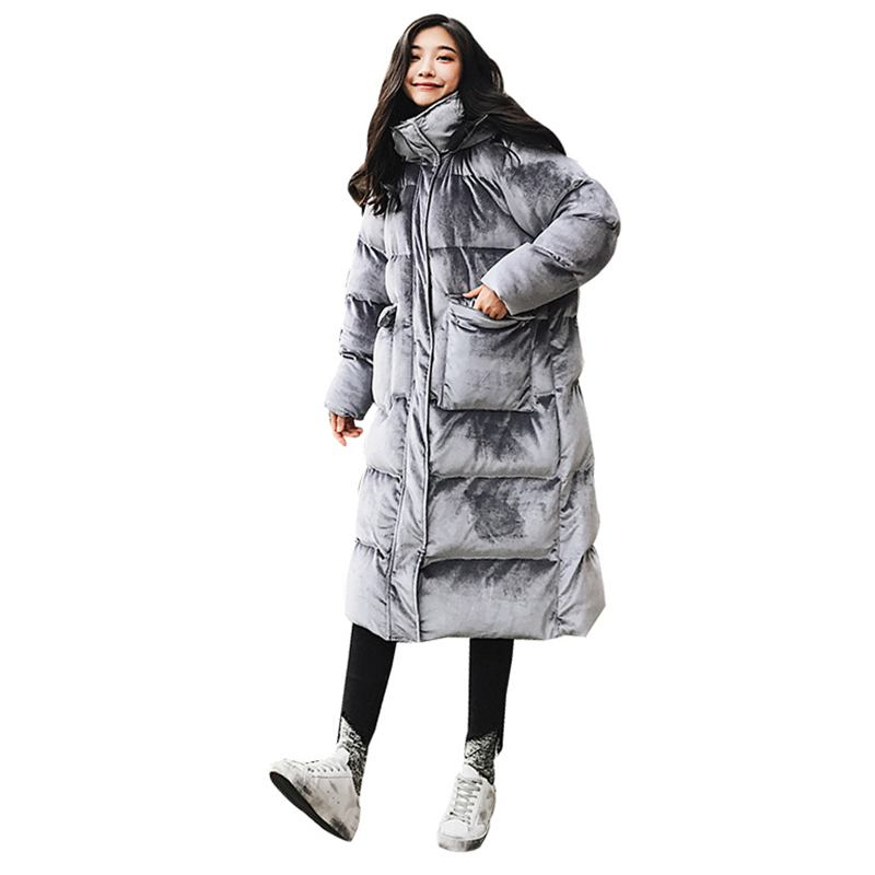 2018 Winter New Gold Velvet Plus Size Women Down Cotton   Parka   Female Big Pockets Hooded Warm Thick Loose Casual Coat Jacket D44