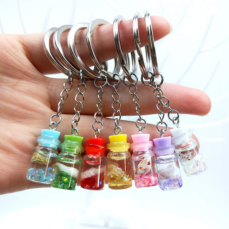 Cute Acrylic Resin Conch Sand Mini Drift Bottle Keychain Goblet Drink Keyring Women Men Key Chain Bag Key Pendant Gift Trinket
