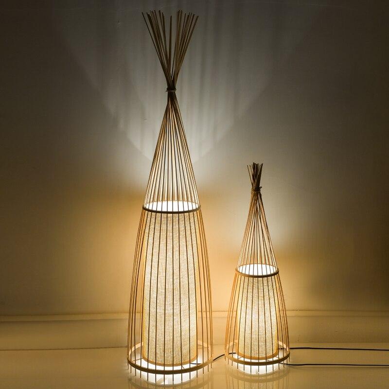 Ancienne décoration créative de lampadaires chinois en bambou lampe debout staande lampes de sol led pour salon Vloer