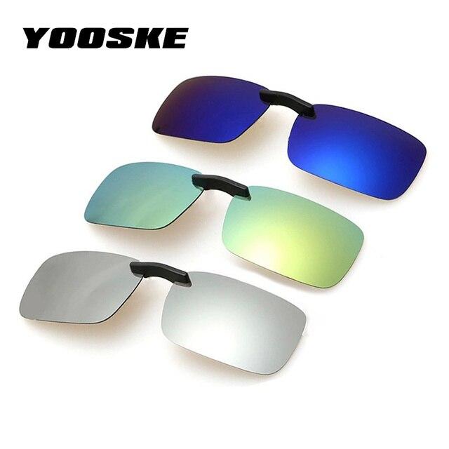 cc9cdf4127b YOOSKE Square Polarized Sunglasses Man Clip On Myopia Eyeglasses Men  Frameless Night Vision Goggles Sun Glasses