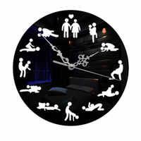 Acrylic Mirror Wall Clocks DIY Movement Quartz Watch Sex Positions Designer Wall Clocks Home Decor Sticker Art