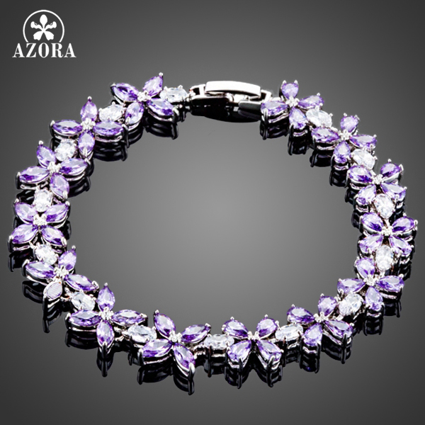 AZORA Charming 14pcs Amethtst Clover With Full Top AAA Purple CZ Connected Bracelet TS0107
