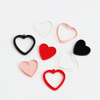 Wholesale 50PCs/Lot Transparent Colorful Love Heart Pendant Charms DIY Jewelry Findings Ornament Accessories Earring Charm Decor