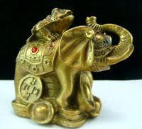FENG SHUI BRASS ELEPHANT statue ATOP MONEY FROG TOAD
