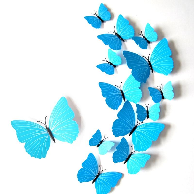 Bleu Lot de 12 stickers muraux de Papillons 3D