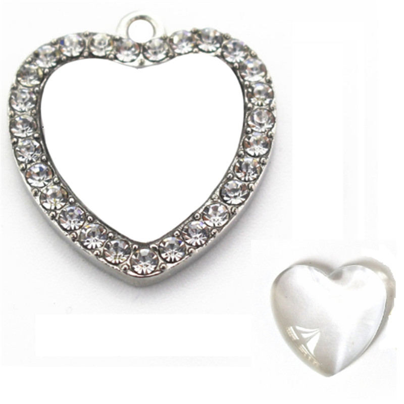 100pcs Free shipping Blank Heart Pendant Charms for Necklace and Earrings with Clear Glass Cabochon