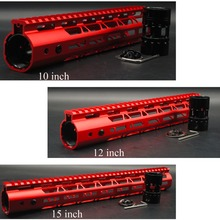 Qırmızı Anodlaşdırılmış 10 '' 12 '' 15 '' düymlük M-LOK Handguard Rail Pulsuz Üzən Dağ Sistemi Ultralight Polad / Alüminium Barrel Qoz
