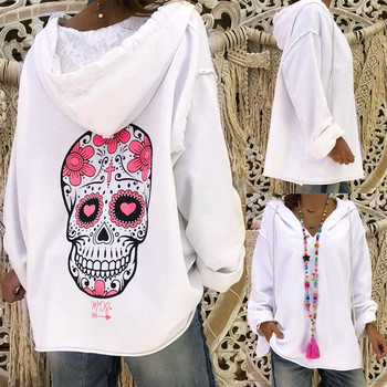 Women Ladies Long Sleeve Skull Print Hooded Pullover