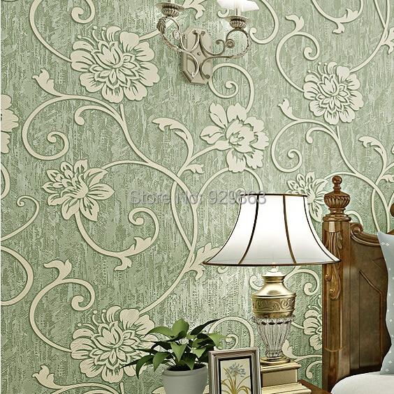 Vintage home decor embossed flocking luxury floral 3d wallpaper ...