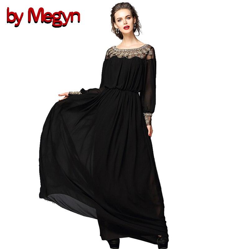 Par Megyn femmes maxi robe automne 2017 à manches longues perles tunique robe noire femmes élégantes robes de fête de noël robes vestidos