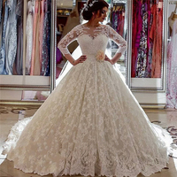 Muslim Fashion Ivory Lace Ball Gown Bridal Dress Graceful Ladies Three Quarter Sleeves Sheer Neck Bridal Gown With Flower Sash