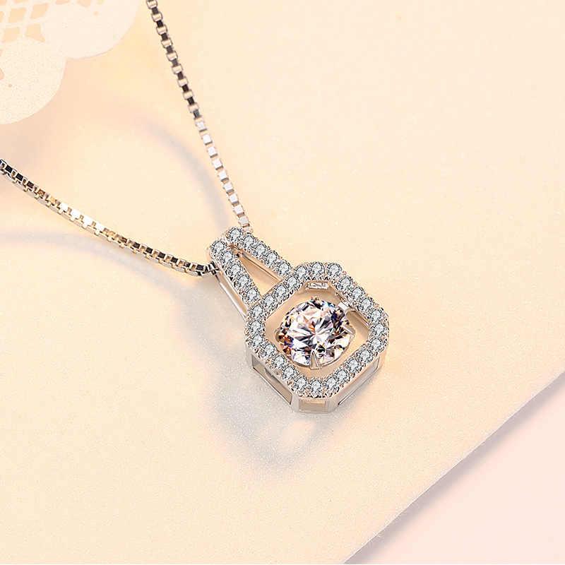 אופנה 925 סטרלינג כסף כיכר קריסטל שרשראות לנשים מעוקב Zirconia ארוך שרשראות Bijoux תכשיטים סיטונאי