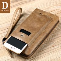 DIDE Luxury Brand 100% Top Genuine Cowhide Leather Men Long Wallet Coin Purse Vintage Designer Male Multifunctional Walets 632