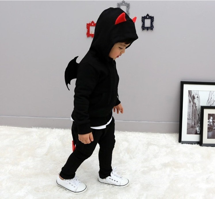 Children Spring Autumn clothes Devil wings sports suits boys solid cotton clothing sets long sleeves pullover hooded wear (13)