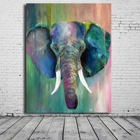 Hot Sell Oil Painting Wall Painting Cherry Demir Art Animal Elephant Head Watercolor Paint On Canvas Paintin Home Decorative Art