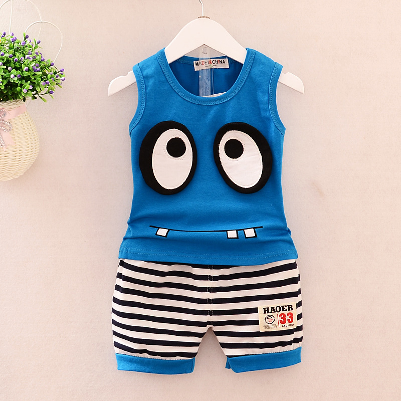Baby Boy Clothes 2017 Korean Summer Cartoon Eyes Sleeveless Vest Tops + Shorts 2PCS Outfits Kids Bebes Jogging Suits Tracksuits