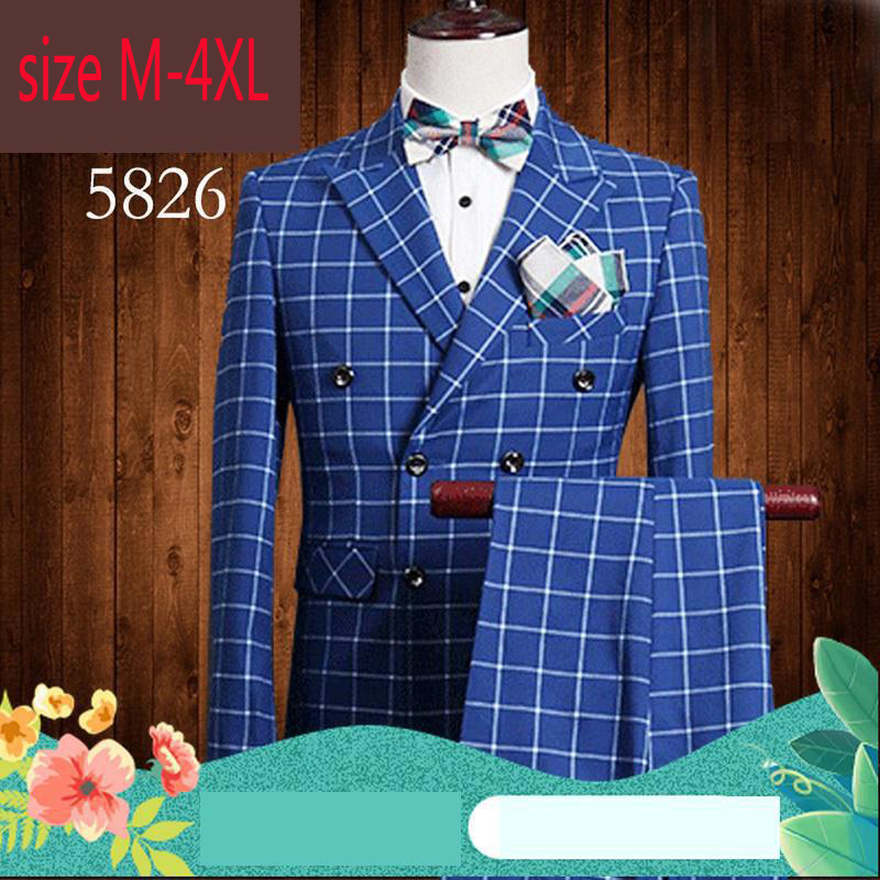 2019 New Arrival Fashion Man Slim Double Row Button Outerwear Groom Wedding Dress Men Checkered Suit Plus Size M L XL 2XL3XL4XL