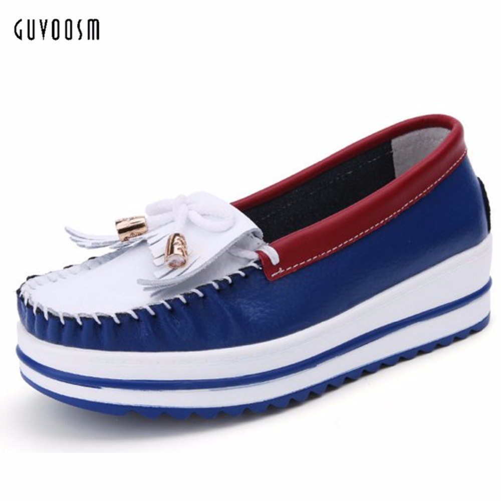 Guvoosm  Full Genuine Leather Women Flats Female Loafers Casual Handmade Slip-On  White Rubber Shoes Woman Small Big Size31-43