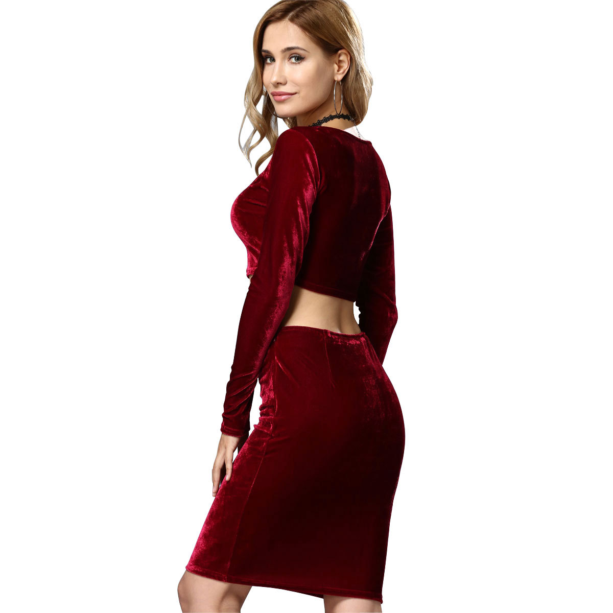 Women 39 s Sets Sexy Velvet Outfits Bodycon Long Sleeve Crop Top Midi Skirt 2 Piece Dress in Women 39 s Sets from Women 39 s Clothing