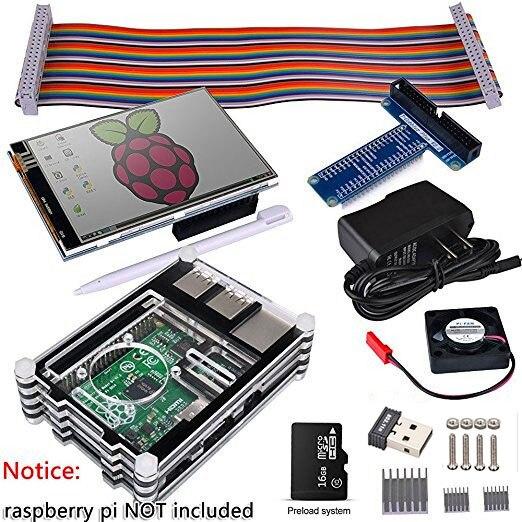 Raspberry Pi 3 2 Kit de démarrage complet avec adaptateur USB + écran tactile 3.5 pouces + 16 go + boîtier + alimentation + carte GPIO + ventilateur + dissipateur de chaleur