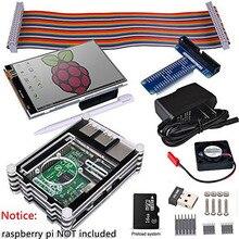 Raspberry Pi 3 2 Komplette Starter Kit mit USB Adapter + 3,5 zoll Touch Screen + 16 GB + Fall + Netzteil + GPIO Bord + Fan + Kühlkörper