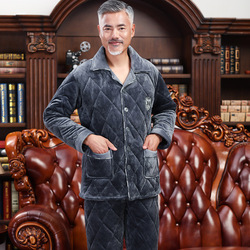New Winter Pajamas Men Thick Fleece Pajama Sets Luxury Warm Sleepwear Warm Suits Man Casual Home Clothes Pijama