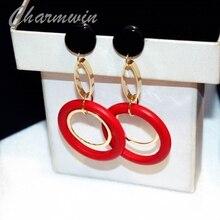 Charmwin Fashion Exaggeration Dangle Earrings Women Long Earrings Black And Red Wooden Circle Big Earrings Female Jewelry PE1574